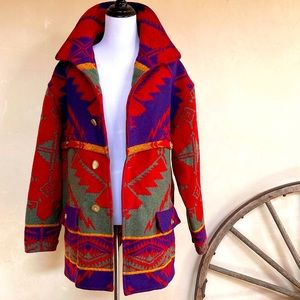 RALPH LAUREN COUNTRY Vtg 80s Colorful Wool Indian Blanket Coat Womans M USA RARE